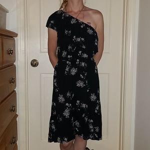Lucky brand black floral one shoulder dress NWT